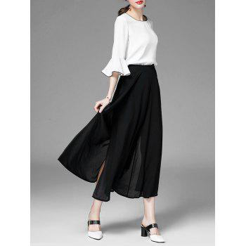 High Slit Design Chiffon Wide Leg Pants