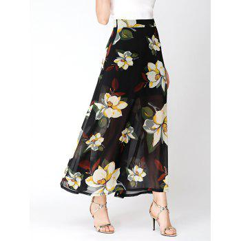 High Waist Flower Print Chiffon Slit Skirt