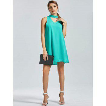 Sleeveless Mini Choker Dress - GREEN M