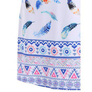 Colorful Feather Print Sleeveless Mini Dress - XL XL