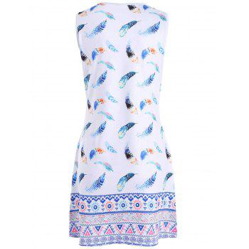 Colorful Feather Print Sleeveless Mini Dress - WHITE XL
