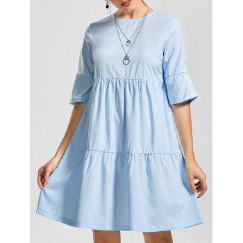 Flounce Shift Knee Length Smock Dress