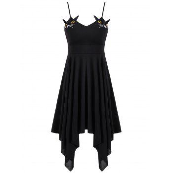 Cat Print Lace-up Handerchief Slip Dress