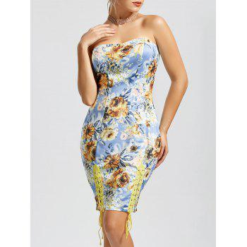 Floral Lace-up Strapless Bodycon Dress