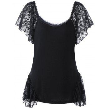 Plus Size Scoop Neck Lace Panel T-shirt