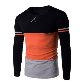 Color Block Long Sleeves Round Neck T-shirt