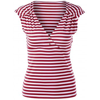 Shirred Cap Sleeve Striped T-shirt