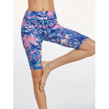 Colorful Pattern Bermuda Fitness Tights - BLUE BLUE