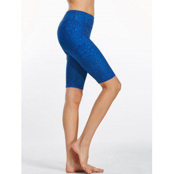 Line Drawing Knee Length Fitness Leggings - BLUE L