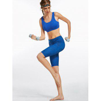 Line Drawing Knee Length Fitness Leggings - L L