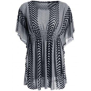 Zigzag Smocked Kaftan Top