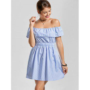 Off The Shoulder Stripe Ruffle Cut Out Dress - Bleu clair L