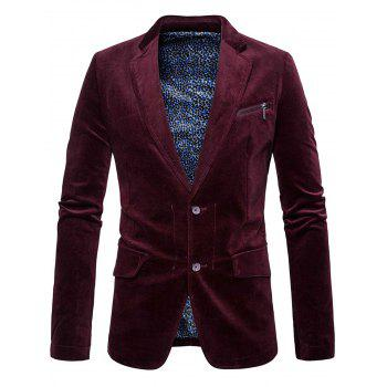 Zipper Pocket Design Lapel Collar Blazer