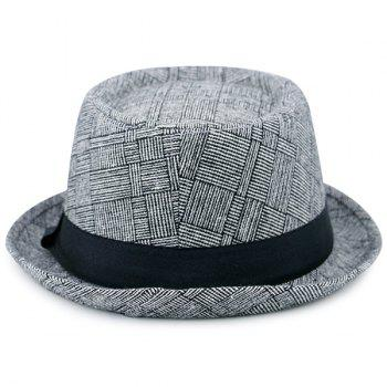 Pinstripe Checked Ribbon Pork Pie Hat