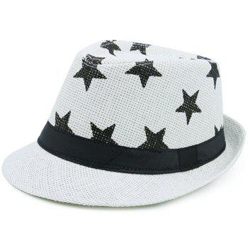 Ribbon Embellished Pentagram Printing Straw Hat