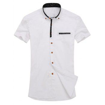 White Button Up Short Sleeve Shirt Cheap Casual Style Online Free ...