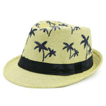 Coconut Palm Pattern Ribbon Straw Hat