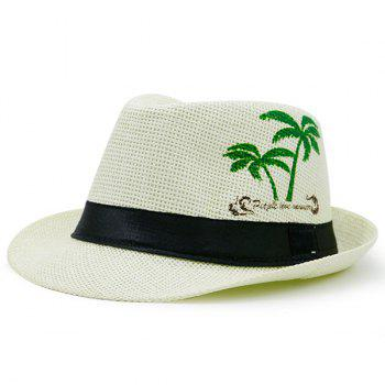 Letters Coconut Palm Printed Ribbon Straw Hat