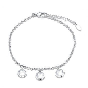 Faux Crystal Round Charm Chain Anklet - Argent