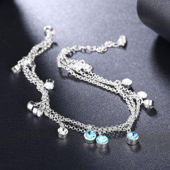 Rhinestone Multilayered Charm Anklet - SILVER
