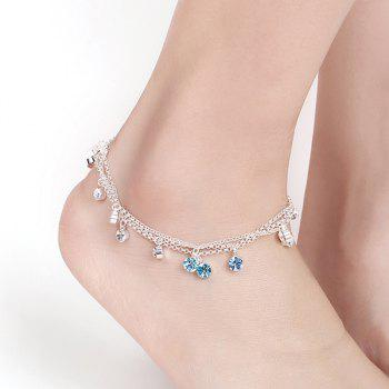 Rhinestone Multilayered Charm Anklet - SILVER SILVER