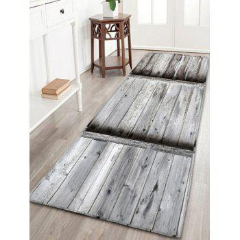 Wood Grain Print Flannel Antislip Area Rug