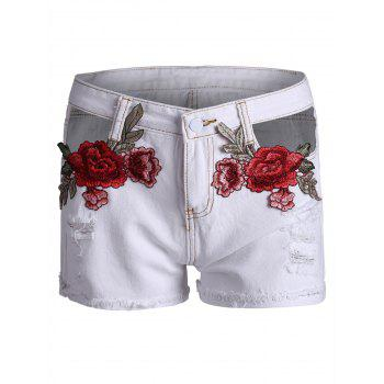 Embroidered Ripped Curved Hem Denim Shorts