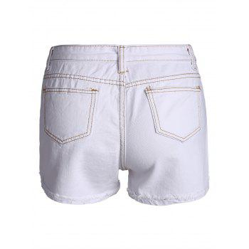 Embroidered Ripped Curved Hem Denim Shorts - WHITE WHITE