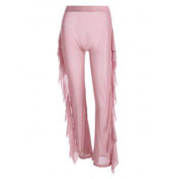 High Waist Sheer Mesh Ruffle Wide Leg Pants