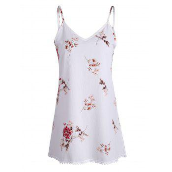 Spaghetti Strap Floral Print Mini Trapeze Dress