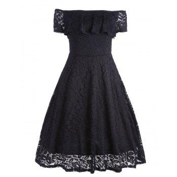 Lace Floral Ruffle Off Shoulder Dress