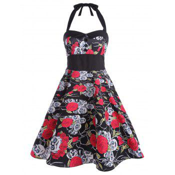 Vintage Floral Skull Print Backless Dress