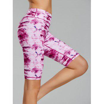 Tie Dye Printed Bermuda Fitness Leggings
