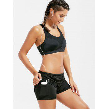 Mesh Trim Elastic Waist Running Shorts - BLACK S