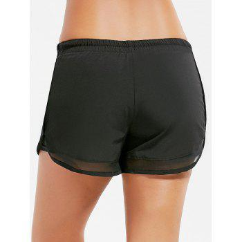 Mesh Trim Elastic Waist Running Shorts - BLACK M