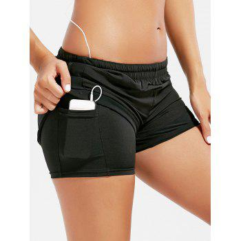 Mesh Trim Elastic Waist Running Shorts - BLACK L