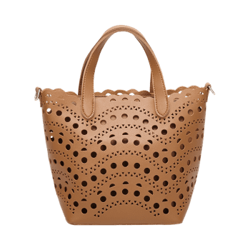 Hollow Out Handbag with Interior Bag -  BROWN