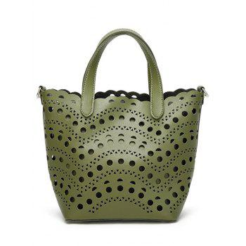 Hollow Out Handbag with Interior Bag - GREEN GREEN