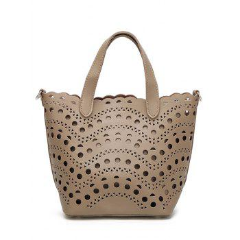 Hollow Out Handbag with Interior Bag - APRICOT APRICOT