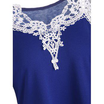 Cold Shoulder Color Block Lace Splicing T-Shirt - XL XL