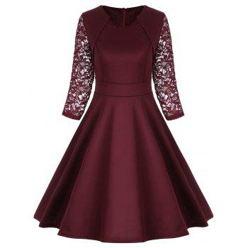 Lace Trim Work Vintage A Line Dress