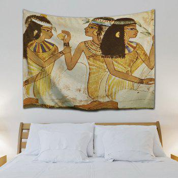 Egyptian Girls Wall Decor Hanging Tapestry - LIGHT YELLOW W59 INCH * L79 INCH