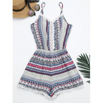 Laced Printed Cami Romper - BLUE ONE SIZE