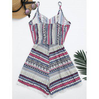 Laced Printed Cami Romper - ONE SIZE ONE SIZE