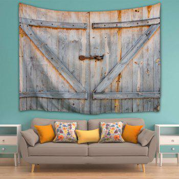 Woody Door Print Wall Decoration Tapestry - GREYISH BROWN W71 INCH * L91 INCH
