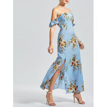 Off The Shoulder High Split Floral Maxi Dress
