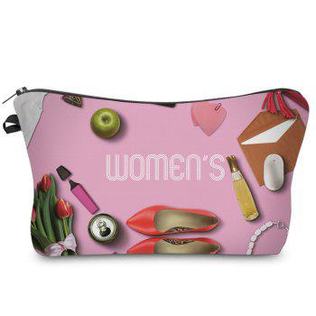 3D Cosmetics Print Makeup Clutch Bag - ROSE RED ROSE RED