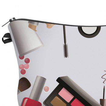 3D Cosmetics Print Makeup Clutch Bag -  WHITE