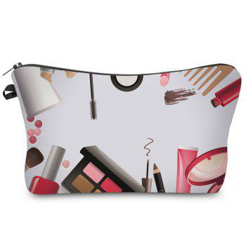 3D Cosmetics Print Makeup Clutch Bag - WHITE WHITE