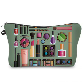 3D Cosmetics Print Makeup Clutch Bag - ARMY GREEN ARMY GREEN